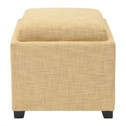 Safavieh Carter Polyester Viscose Tray Ottoman in Gold