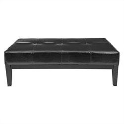Safavieh Aubrey Beech Wood Leather Cocktail Ottoman in Black