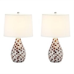 Safavieh Mother of Pearl Table Lamp in Brown (Set of 2)
