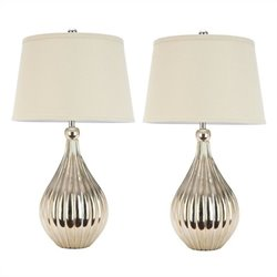 Safavieh Grace Table Lamps and Cream Shade in Champagne (Set of 2)