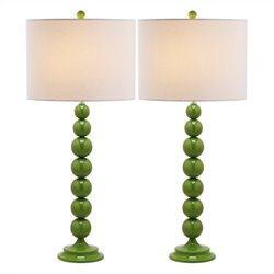 Safavieh Jenna Metal Stacked Ball Lamp in Fern Green (Set of 2)