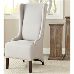 Safavieh Jack Birch  Bacall Nailhead Linen  Dining Chair in Taupe