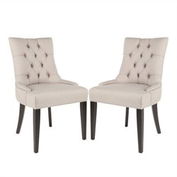 Safavieh Peyton/Ashley Nickle Nailhead  Dining Chair in Beige (Set Of 2)