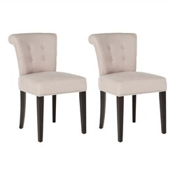 Safavieh Sinclair Nickle Nailhead Ring Dining Chair in Taupe (Set Of 2)