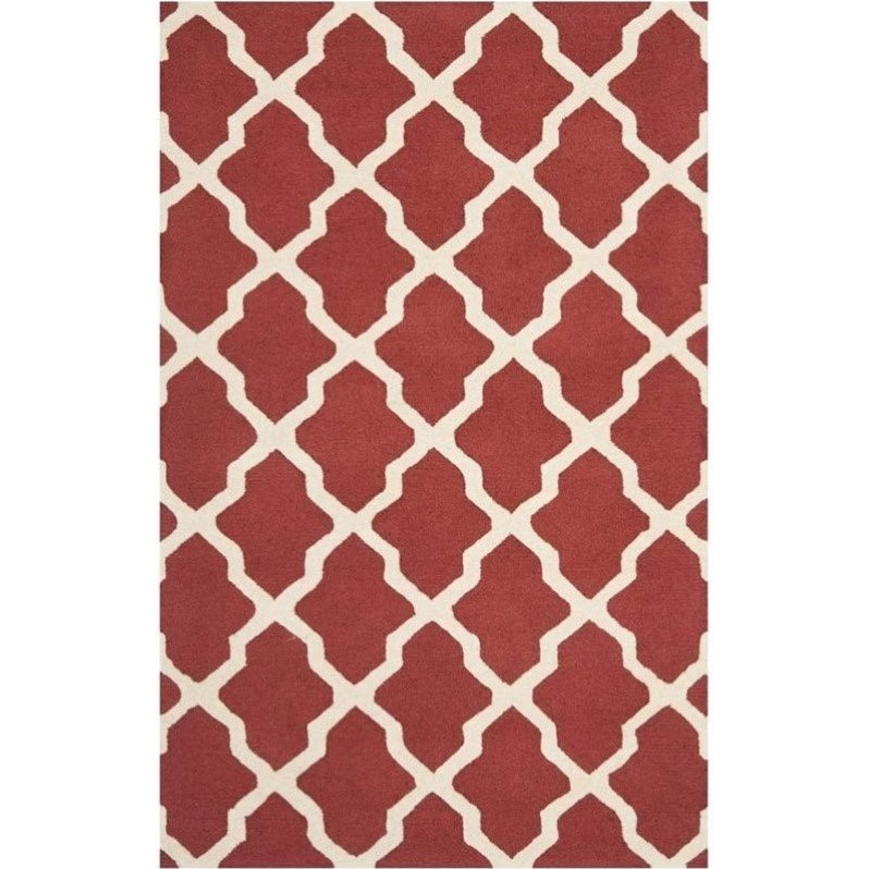 Safavieh Cambridge Wool Large Rectangle Rug Cam121l 8 In Rust And Ivory