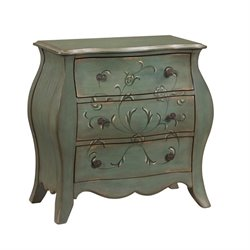 PRI French Bombay 3 Drawer Chest in Aged Green