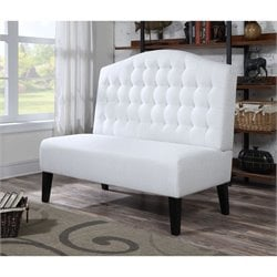 PRI Fabric Living Room Bench in Ivory