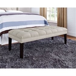 PRI Upholstered Tufted Bedroom Bench in Taupe