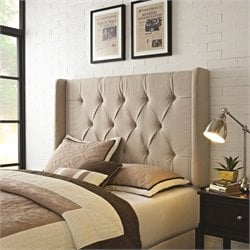 PRI Tufted Wingback Panel Headboard Full-Queen in Taupe