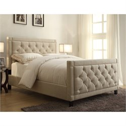 PRI Upholstered Panel Queen Bed in Nusilk Oyster