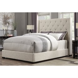 PRI Contemp Shelter Queen Upholstered Bed in Cream