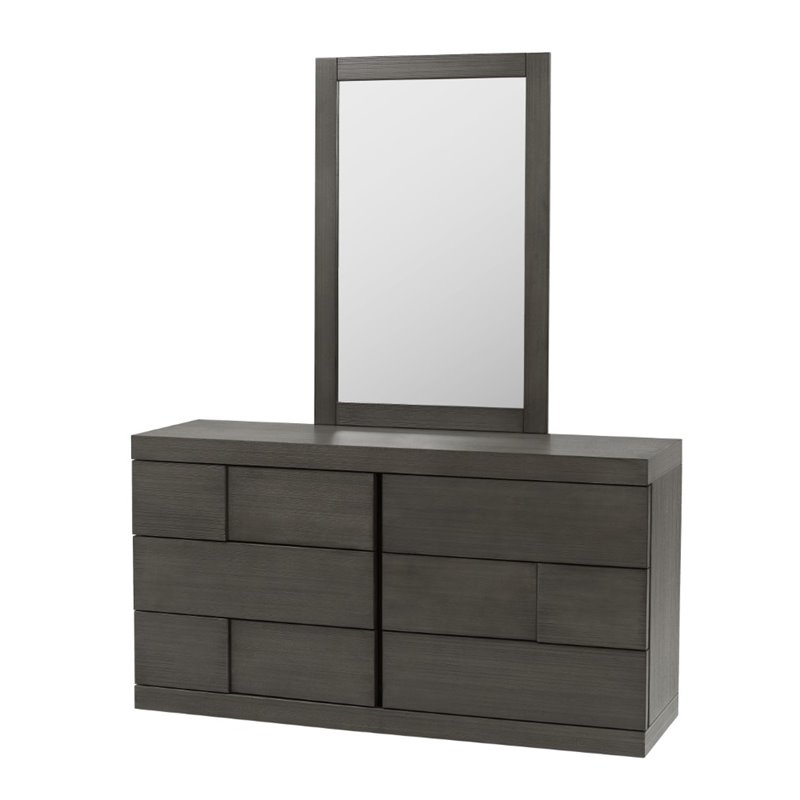 Chintaly 6 Drawer Dresser in Gray and Rubberwood