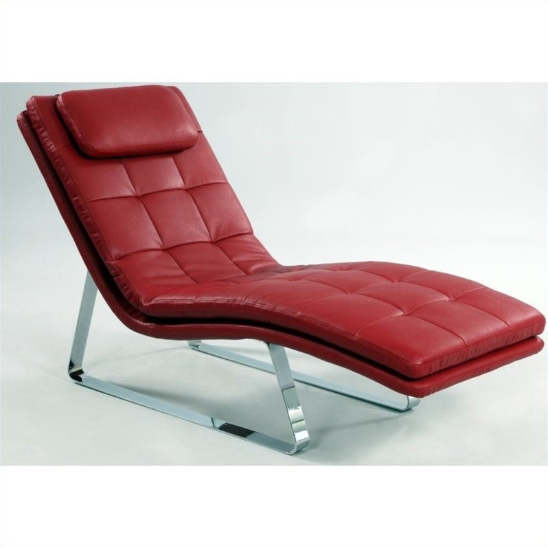 chintaly corvette bonded leather chaise lounge with chrome