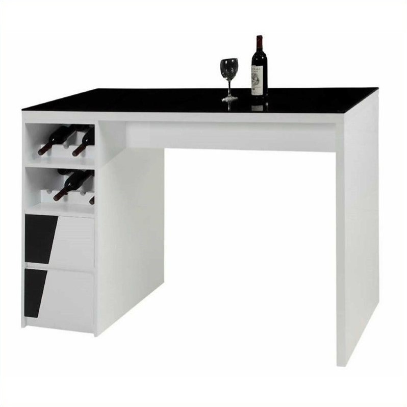 Fulton Black Glass Top Home Bar Base with Drawers and Wine Storage in White