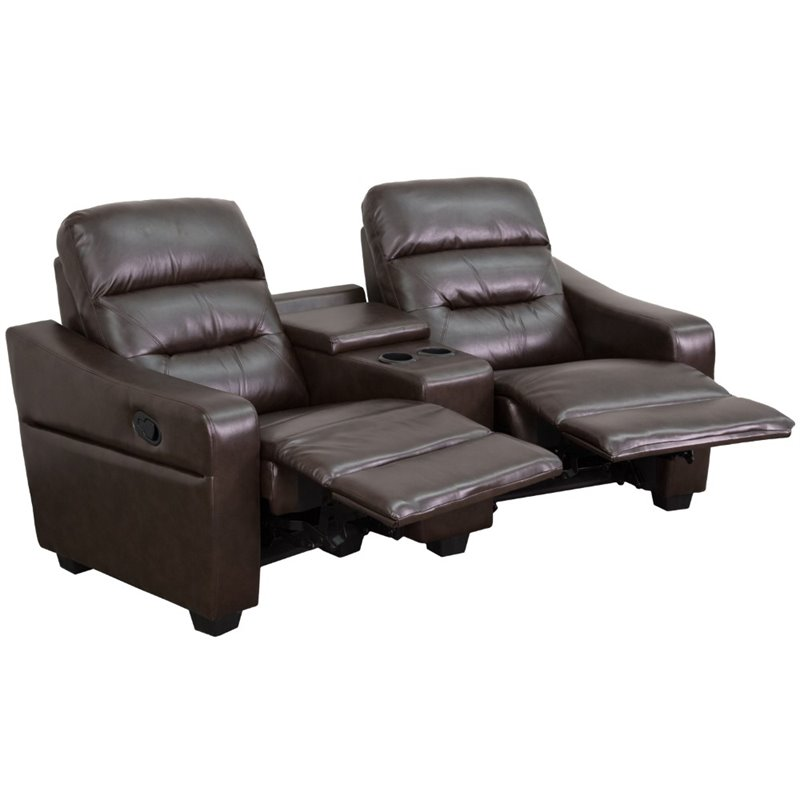 Futura 2 Seater Reclining Brown Leather Theater Seats & Cup Holders BT-70380-2-BRN-GG