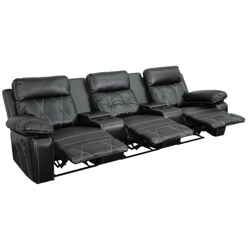 Real Comfort 3 Seater Reclining Black Leather Theater Seats BT-70530-3-BK-GG