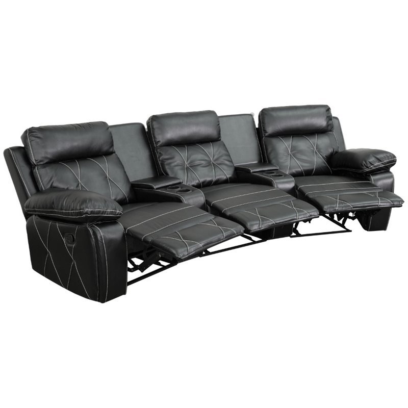 Real Comfort 3 Seater Curved Reclining Black Leather Theater Seats BT-70530-3-BK-CV-GG