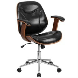 Flash Furniture Leather Swivel Office Chair in Black and Walnut