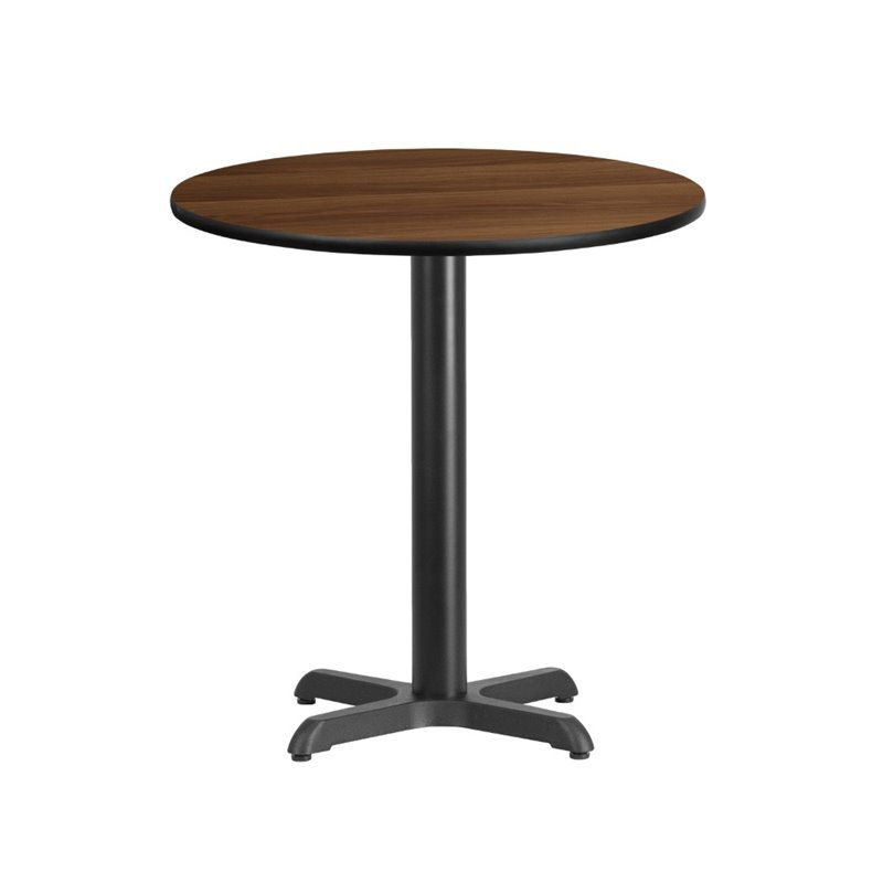 Flash Furniture 24 Round Restaurant Dining Table in Black and Walnut