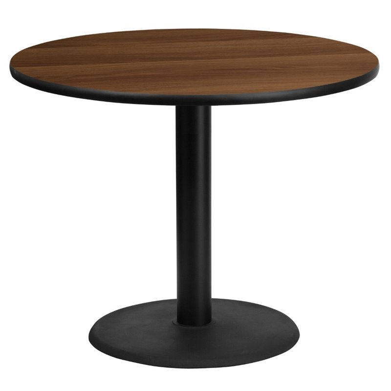 Flash Furniture 36 Round Restaurant Dining Table in Black and Walnut