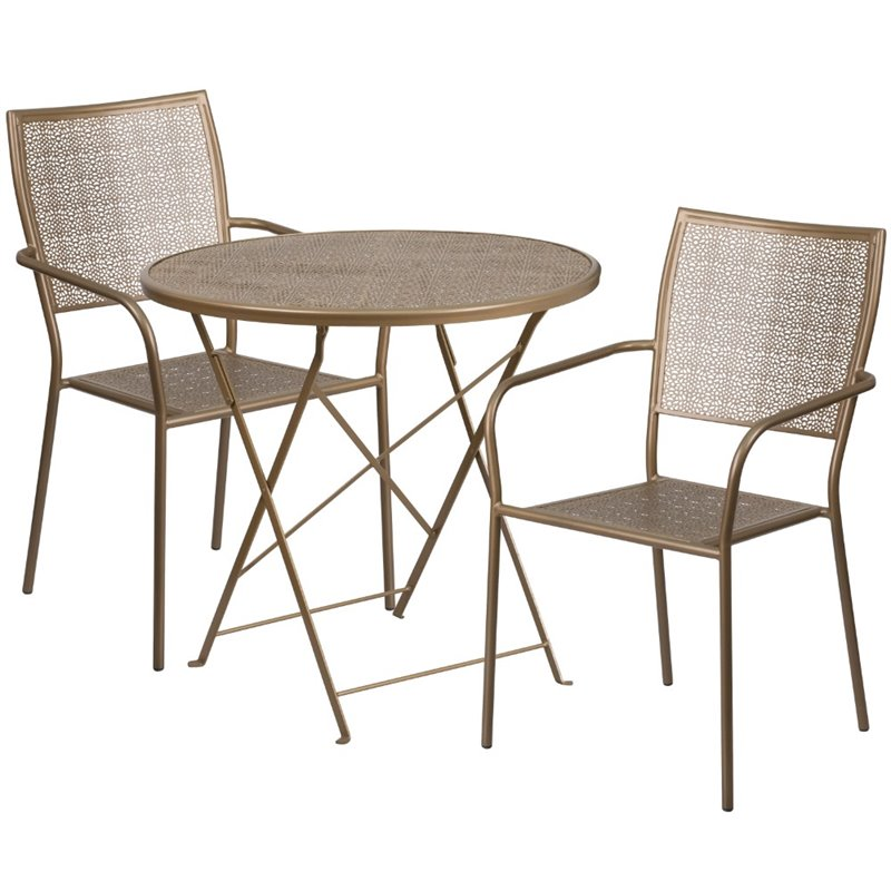 Flash Furniture Round Patio Dining Table With 2 Seats in Gold