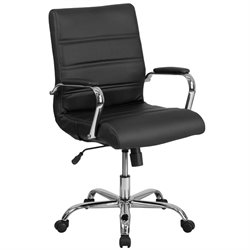 Flash Furniture Mid Back Leather Swivel Office Chair in Black