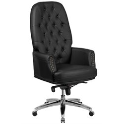Flash Furniture Leather High Back Swivel Executive Chair in Black