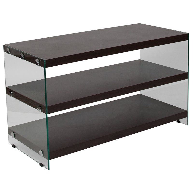 Flash Furniture 39 Glass Frame TV Stand in Dark Ash