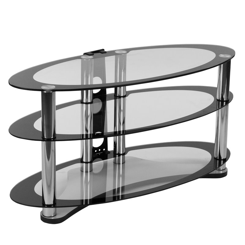 Flash Furniture 39 Glass Top TV Stand in Black Clear