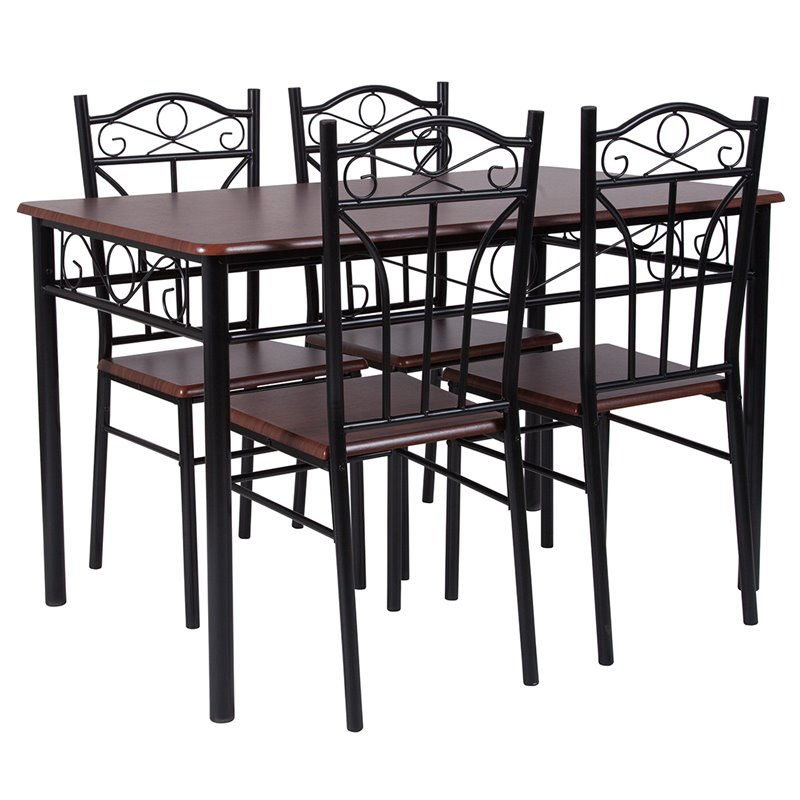 Flash Furniture Lexington 5 Piece Dining Set in Mahogany