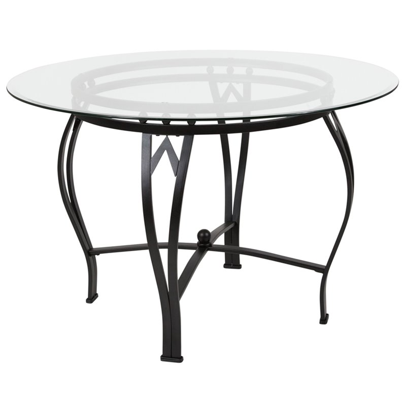 Flash Furniture 45 Round Glass Top Dining Table in Clear Black