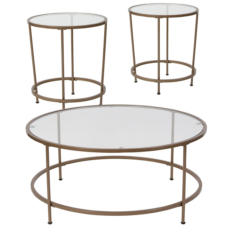 Flash Furniture Astoria 3 Piece Glass Top Coffee Table Set in Gold
