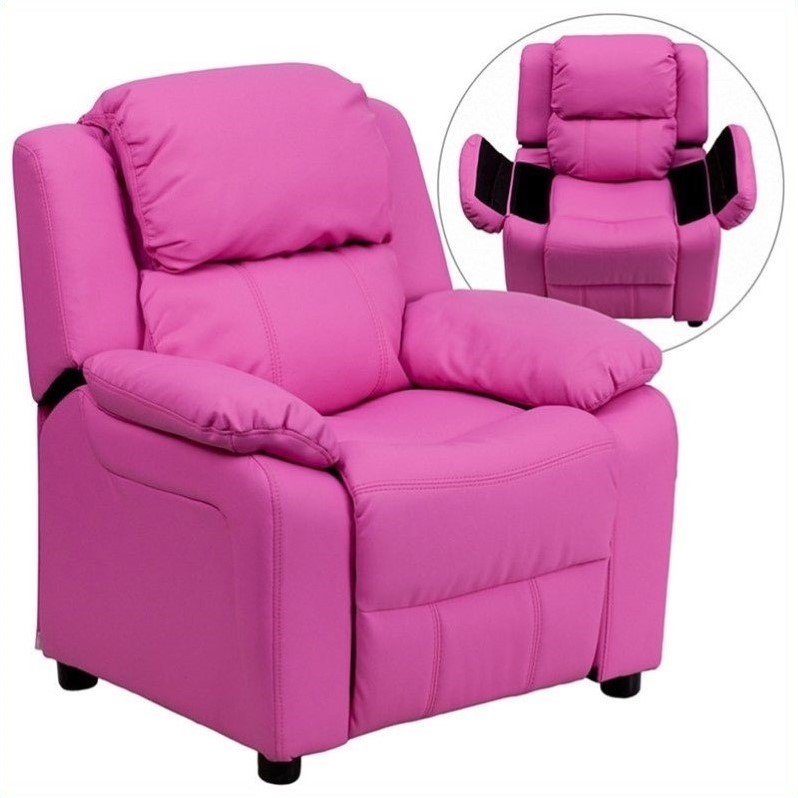 Flash Furniture BT-7985-KID-HOT-PINK-GG Deluxe Heavily Padded Contemporary Hot Pink Vinyl Kids Recliner with Storage Arms
