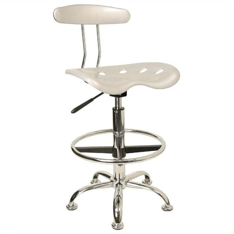 Flash Furniture Vibrant Drafting Chair Seat in Silver and Chrome 454662