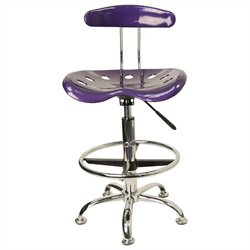 Flash Furniture Vibrant Drafting Chair Seat in Violet and Chrome