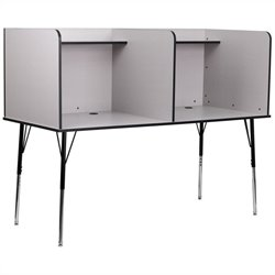 Flash Furniture Double Wide Study Carrel in Nebula Grey