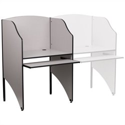 Flash Furniture Starter Study Carrel in Nebula Grey