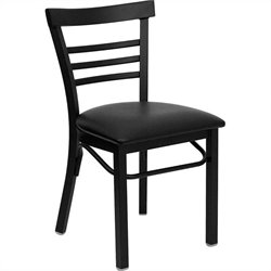 Flash Furniture Hercules Ladder Back Metal Dining Chair in Black
