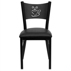 Flash Furniture Hercules Coffee Back Metal Dining Chair in Black