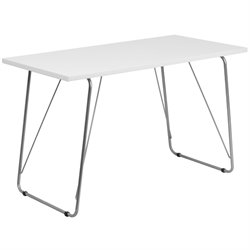 Flash Furniture Computer Desk with Silver Frame in White