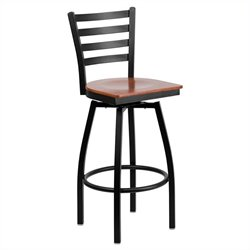Flash Furniture Hercules Swivel Metal Bar Stool in Black and Cherry