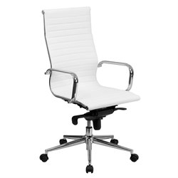 Flash Furniture High Back Ribbed Leather Office Chair in White
