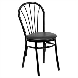 Flash Furniture Hercules Fan Back Metal Dining Chair in Black