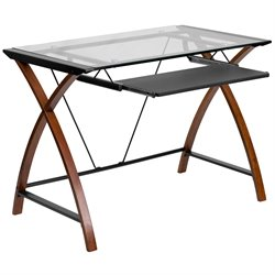 Flash Furniture Glass Computer Desk in Black and Cherry