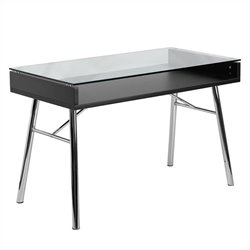 Flash Furniture Brettford Desk with Tempered Glass Top in Black
