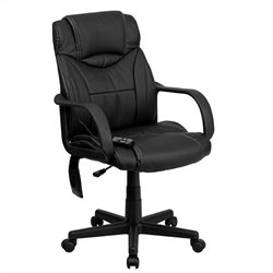 Flash Furniture Massaging Leather Executive Office Chair in Black