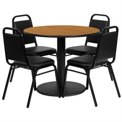 Flash Furniture 5 Piece Round Table Set in Black and Natural