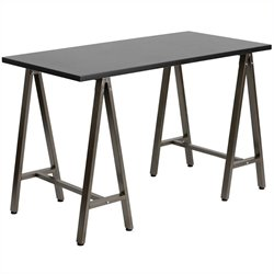 Flash Furniture Computer Desk with Brown Frame in Black