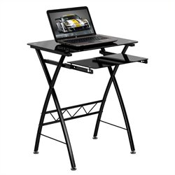 Flash Furniture Tempered Glass Computer Desk in Black
