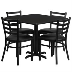 Flash Furniture 5 Piece Square Laminate Table Set in Black